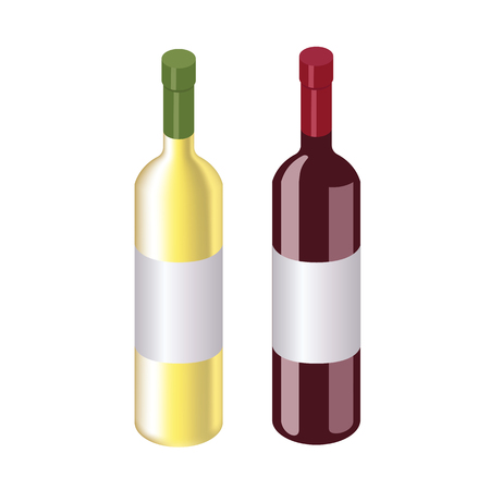 Isometric red and white wine bottles isolated on white Ilustrace