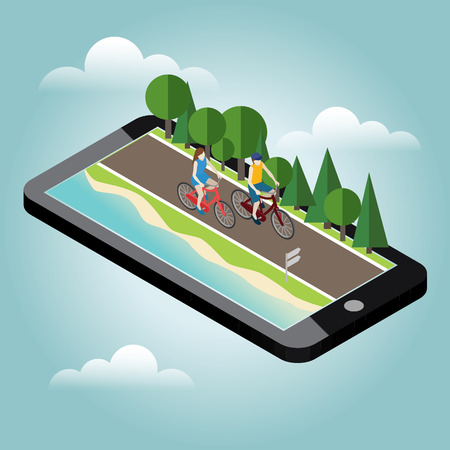 Woman and man on bicycles on the road near the beach and forest. Mobile geo tracking