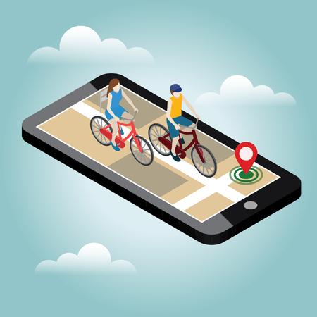 등각 투영 위치. 모바일 지리적 추적. 자전거를 타는 여성 및 남성 자전거 타는 사람. 지도