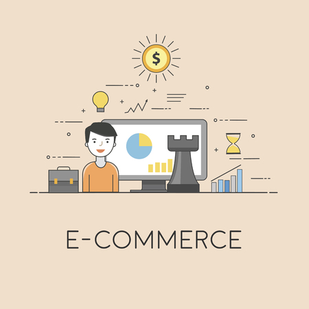 E-commerce strategy. Digital technologies. Charts and reports Stok Fotoğraf - 90252656