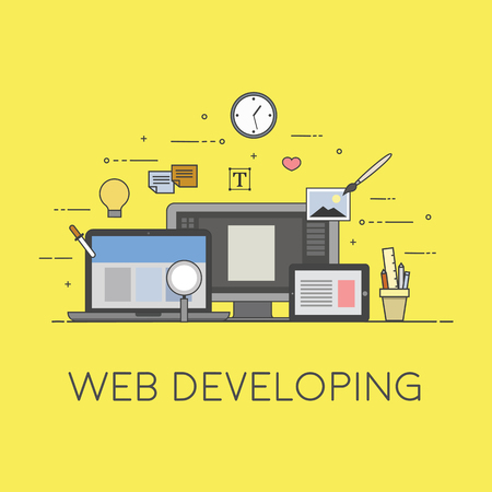 Web and mobile developing. Process of developing Çizim
