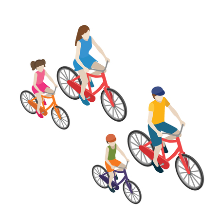 Family cyclists riding on a bicycle. Flat 3D isometric vector illustration. Vectores