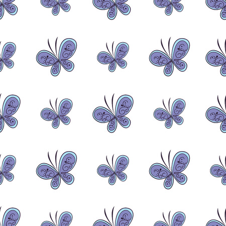 Beautiful butterfly seamless pattern. Vector illustration Banco de Imagens