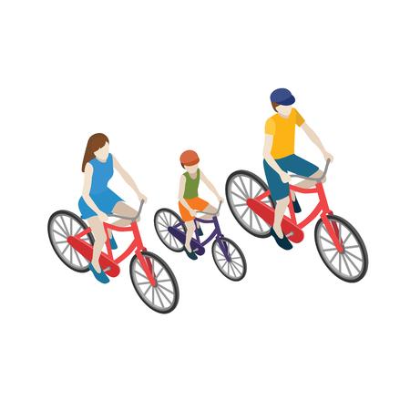 Familiefietsers die op een fiets berijden. Platte 3d isometrische vectorillustratie. Moeder, vader en zoon