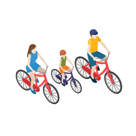 Family cyclists riding on a bicycle. Flat 3d isometric vector illustration. Mother, father and son