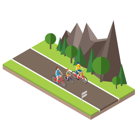 Isometric countryside. Summer road. Family cycling on countryside summer sunny road or highway. Mother, father and son.
