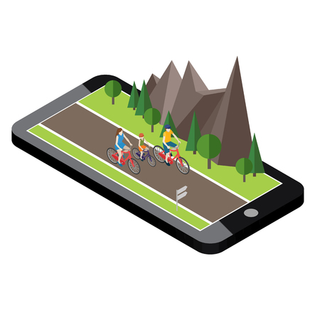 Isometric countryside. Summer road. Mobile geo tracking. Map. Family cycling on countryside summer sunny road or highway. Mother, father and son