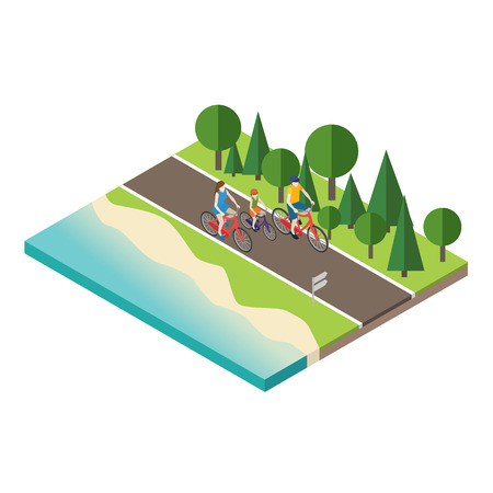 田舎の夏の日当たりの良い道路または高速道路のサイクリングの家族。母、父と息子