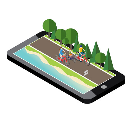 Family on bicycles on the road near the beach and forest. Mobile geo tracking. Mother, father and son Illustration