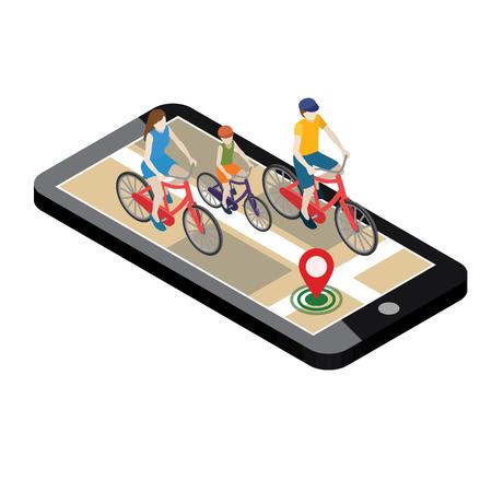 Emplacement isométrique. Suivi géographique mobile. Famille cyclistes à vélo. Carte. Mère, père et fils