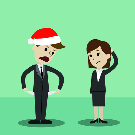 Businessman in Christmas hat and businesswomen standing and showing his empty pocket, turning his pocket inside out, no money