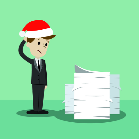 Businessman in Christmas hat finding himself going to be busy.