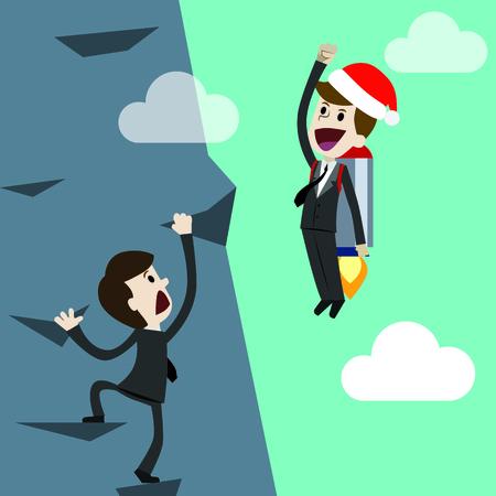 Startup business, flat design illustration. Businessman in new Christmas on a rocket.