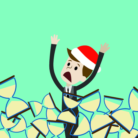 Businessman or manager in Christmas hat is drowning in sandglass. Loosing time. Vector illustration