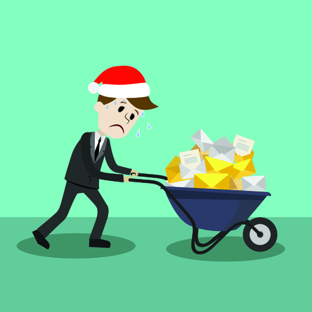 Businessman or manager in Christmas hat finding himself going to be busy. A lot of emails Illustration