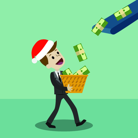 Businessman or manager in Christmas hat has a profit