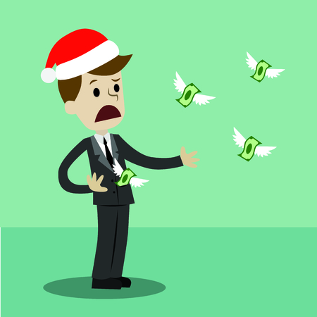 Businessman or manager in Christmas hat losing his money. Money fly away like birds. Vector illustration