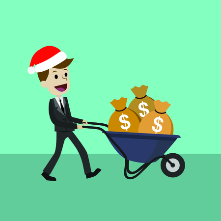 Happy businessman or manager in Christmas hat goes with a wheelbarrow full of cash