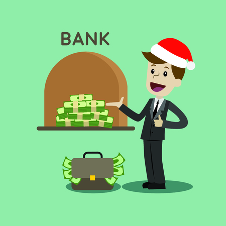 Credit. A bank gives out a loan in dollars. Businessman or manager in Christmas hat gets a bank loan. Profit. Vector, illustration