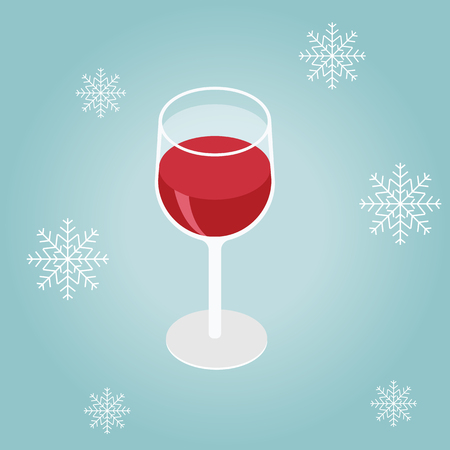 Isometric red wine in a glass isolated on winter background