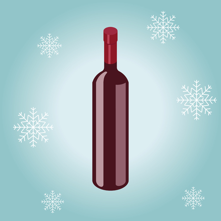 Isometric red wine bottle isolated on winter background