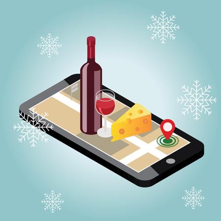 Isometrische levering van levensmiddelen. Op zoek naar een bar of diner in de winter. Mobiel zoeken. Bar of wijnwinkel. Geo-tracking. Kaart