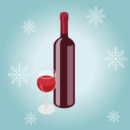Isometric red, wine bottle with glass in winter