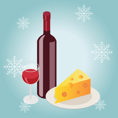 Isometric red wine bottle with glass in winter