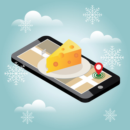 Isometric city. Food delivering in winter. Cheese shop. Mobile searching. Geo tracking. Map.Isometric city. Food delivery thru on line order concept Иллюстрация