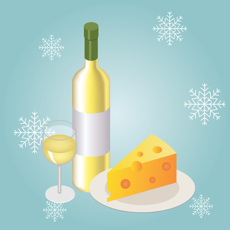 Isometric red wine bottle with glass and sliced of cheese on winter and snowflakes background