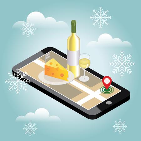 Isometrische eten bezorgen. Op zoek naar bar of diner in de winter. Mobiel zoeken. Bar of wijnwinkel. Geo-tracking.