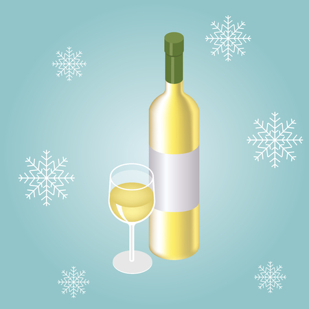 Isometric red, wine bottle with glass on winter background