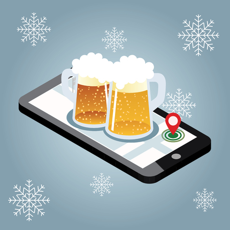 Mobile searching. Looking for bar in winter. Isometric mobile and beer. Geo tracking. Map