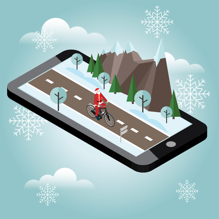 Santa Claus on a bike. Isometric countryside. Mobile geo tracking. Santa Claus cycling on countryside winter road or highway.
