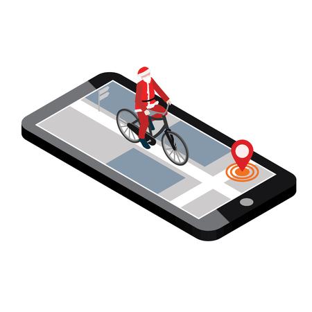Isometric location. Mobile geo tracking. Santa Claus on a bike. Map. Illusztráció