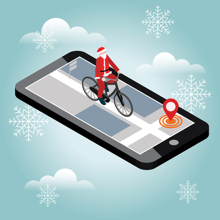 Isometric location. Mobile geo tracking. Santa Claus on a bike. Map. Illustration