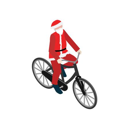 Santa Claus op een fiets. Platte 3d isometrische vectorillustratie.