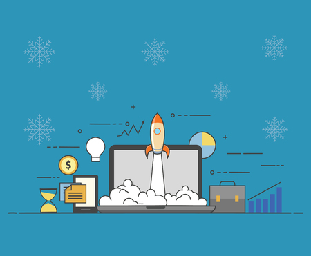 Flat vector illustration. Concept illustration of successfull startup 向量圖像
