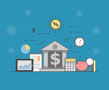 Banking and business on winter background. Financial market. Secure transactions and payments protection, the guarantee security of financial deposits, transactions and savings deposits