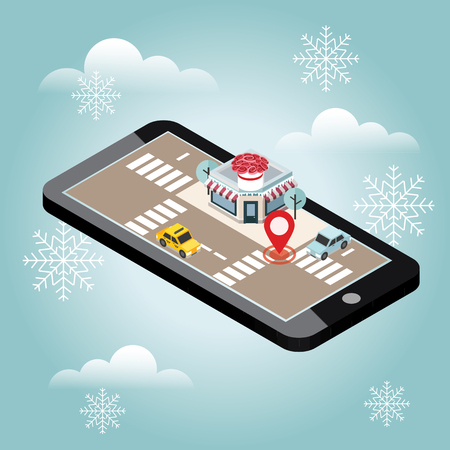 Isometric city. Flower delivering. Snow winter day. Waiting for a Christmas and New Year. Flowers. Mobile searching. Geo tracking. Map.Isometric city. Food delivering.