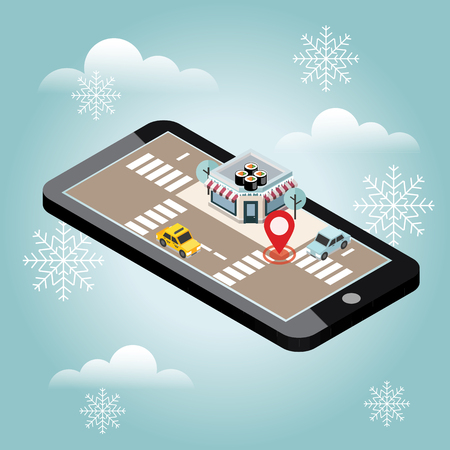 Isometric city. Japanise restaurant. Snow winter day. Waiting for a Christmas and New Year. Mobile searching. Geo tracking. Map
