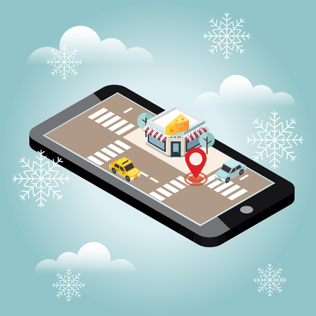 Isometric city. Cheese shop. Pizzeria. Snow winter day. Waiting for a Christmas and New Year. Food delivering. Mobile searching. Geo tracking. Map  イラスト・ベクター素材