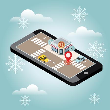 等尺性の都市。ピッツェリア。雪冬の日。クリスマスと新しい年を待っています。食品を提供します。モバイル検索。ジオの追跡。地図 写真素材