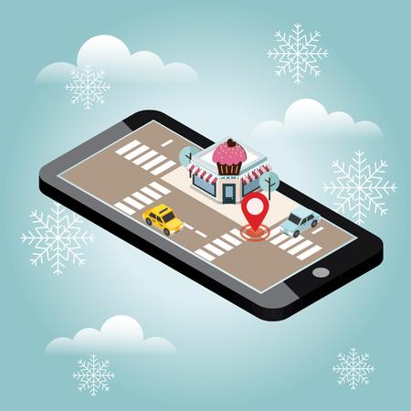 等尺性の都市。カフェやレストラン。雪冬の日。クリスマスと新しい年を待っています。食品を提供します。モバイル検索。ジオの追跡。地図 写真素材