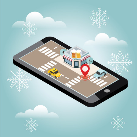 Mobile searching. Looking for bar. Snow winter day. Waiting for a Christmas and New Year. Isometric mobile and beer. Geo tracking. Map. City life 写真素材