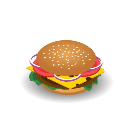 等尺性のベクトル描画とチーズ、トマト、チョップ、レタス、タマネギ、キュウリのハンバーガー。デザイン ファーストフードのメニューの例。ハ