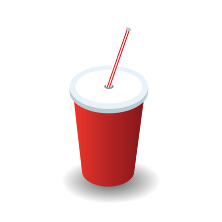 Isometric red plastic glass with lid and straw isolated on white background