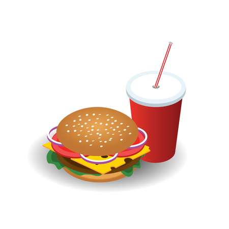 Isometric hamburguer with coke soda with straw