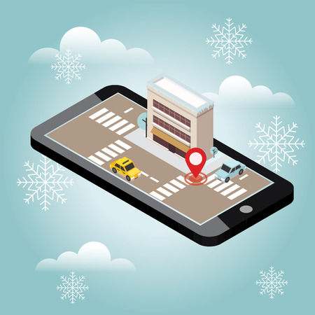 Isometric city. Snow winter day. Waiting for a Christmas and New Year.Mobile geo tracking. Map. City building and traffic. Geo positioning. Navigator