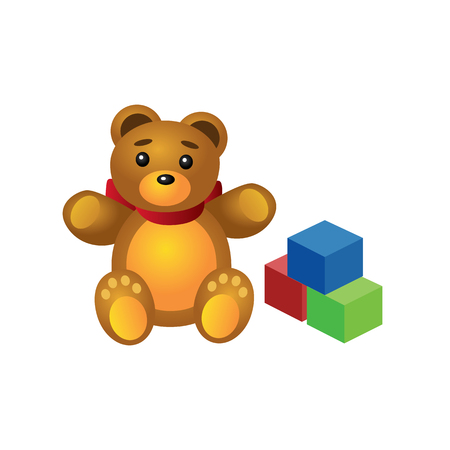 Isometric cute teddy bear and colorful cubes isolated on white background. Childish toys and gifts. Vector illustration